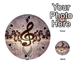 Music, Wonderful Clef With Floral Elements Playing Cards 54 (round)