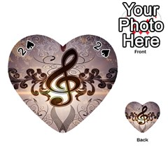 Music, Wonderful Clef With Floral Elements Playing Cards 54 (Heart)