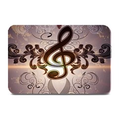 Music, Wonderful Clef With Floral Elements Plate Mats