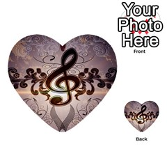 Music, Wonderful Clef With Floral Elements Multi Purpose Cards (heart)