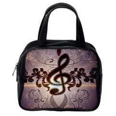 Music, Wonderful Clef With Floral Elements Classic Handbags (One Side)