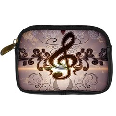 Music, Wonderful Clef With Floral Elements Digital Camera Cases