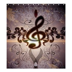 Music, Wonderful Clef With Floral Elements Shower Curtain 66  x 72  (Large)