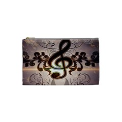 Music, Wonderful Clef With Floral Elements Cosmetic Bag (Small)