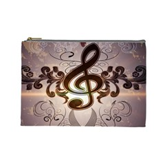 Music, Wonderful Clef With Floral Elements Cosmetic Bag (Large)