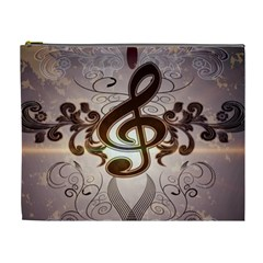 Music, Wonderful Clef With Floral Elements Cosmetic Bag (XL)
