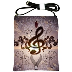 Music, Wonderful Clef With Floral Elements Shoulder Sling Bags