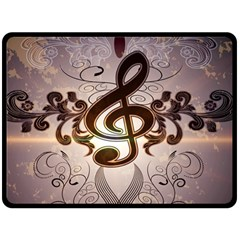 Music, Wonderful Clef With Floral Elements Fleece Blanket (Large)