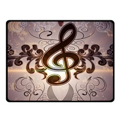 Music, Wonderful Clef With Floral Elements Fleece Blanket (small)