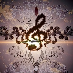 Music, Wonderful Clef With Floral Elements Magic Photo Cubes