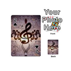 Music, Wonderful Clef With Floral Elements Playing Cards 54 (Mini)