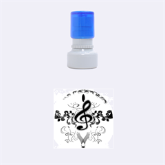 Music, Wonderful Clef With Floral Elements Rubber Round Stamps (Small)