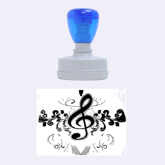 Music, Wonderful Clef With Floral Elements Rubber Oval Stamps