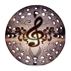 Music, Wonderful Clef With Floral Elements Round Filigree Ornament (2side)