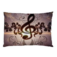 Music, Wonderful Clef With Floral Elements Pillow Cases (two Sides)