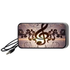 Music, Wonderful Clef With Floral Elements Portable Speaker (black)