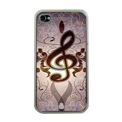 Music, Wonderful Clef With Floral Elements Apple iPhone 4 Case (Clear)