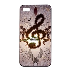 Music, Wonderful Clef With Floral Elements Apple Iphone 4/4s Seamless Case (black)