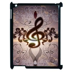 Music, Wonderful Clef With Floral Elements Apple iPad 2 Case (Black)