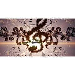 Music, Wonderful Clef With Floral Elements YOU ARE INVITED 3D Greeting Card (8x4)