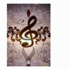Music, Wonderful Clef With Floral Elements Small Garden Flag (two Sides)