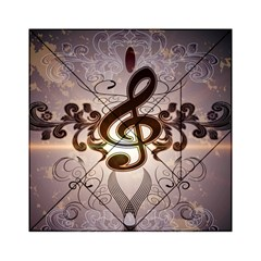 Music, Wonderful Clef With Floral Elements Acrylic Tangram Puzzle (6  x 6 )