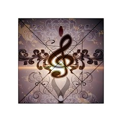 Music, Wonderful Clef With Floral Elements Acrylic Tangram Puzzle (4  x 4 )