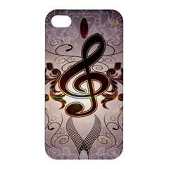 Music, Wonderful Clef With Floral Elements Apple iPhone 4/4S Premium Hardshell Case