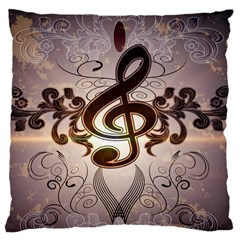 Music, Wonderful Clef With Floral Elements Large Cushion Cases (two Sides)