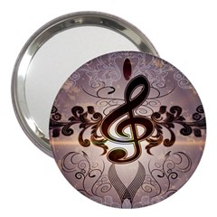 Music, Wonderful Clef With Floral Elements 3  Handbag Mirrors
