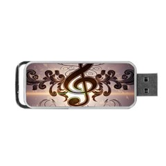 Music, Wonderful Clef With Floral Elements Portable USB Flash (Two Sides)