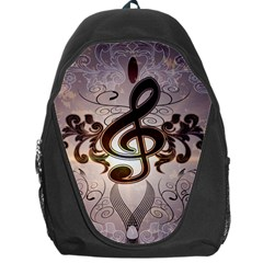 Music, Wonderful Clef With Floral Elements Backpack Bag