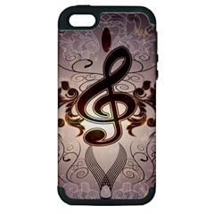 Music, Wonderful Clef With Floral Elements Apple iPhone 5 Hardshell Case (PC+Silicone)