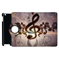 Music, Wonderful Clef With Floral Elements Apple Ipad 2 Flip 360 Case
