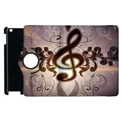 Music, Wonderful Clef With Floral Elements Apple iPad 3/4 Flip 360 Case