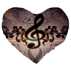 Music, Wonderful Clef With Floral Elements Large 19  Premium Heart Shape Cushions