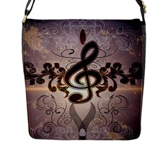 Music, Wonderful Clef With Floral Elements Flap Messenger Bag (L)
