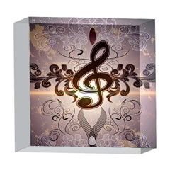 Music, Wonderful Clef With Floral Elements 5  x 5  Acrylic Photo Blocks