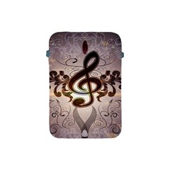 Music, Wonderful Clef With Floral Elements Apple iPad Mini Protective Soft Cases