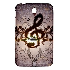 Music, Wonderful Clef With Floral Elements Samsung Galaxy Tab 3 (7 ) P3200 Hardshell Case