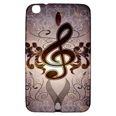Music, Wonderful Clef With Floral Elements Samsung Galaxy Tab 3 (8 ) T3100 Hardshell Case