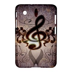 Music, Wonderful Clef With Floral Elements Samsung Galaxy Tab 2 (7 ) P3100 Hardshell Case