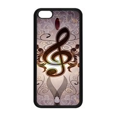 Music, Wonderful Clef With Floral Elements Apple iPhone 5C Seamless Case (Black)