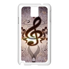Music, Wonderful Clef With Floral Elements Samsung Galaxy Note 3 N9005 Case (white)