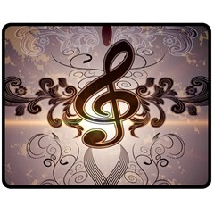 Music, Wonderful Clef With Floral Elements Double Sided Fleece Blanket (medium)