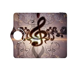Music, Wonderful Clef With Floral Elements Kindle Fire HDX 8.9  Flip 360 Case