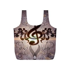 Music, Wonderful Clef With Floral Elements Full Print Recycle Bags (S)