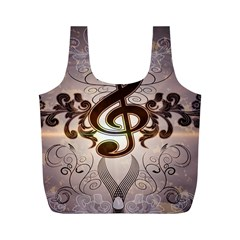 Music, Wonderful Clef With Floral Elements Full Print Recycle Bags (m)