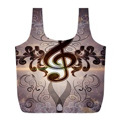 Music, Wonderful Clef With Floral Elements Full Print Recycle Bags (L)