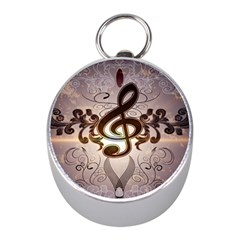 Music, Wonderful Clef With Floral Elements Mini Silver Compasses